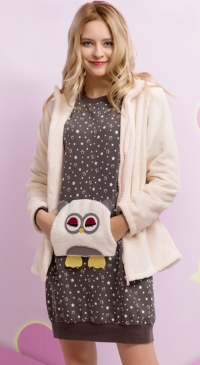 Robe sweat coton molletonné et gilet pilou