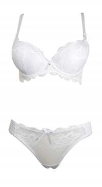 ensemble string soutien-gorge bonnet B pushup 3 agrafes blanc